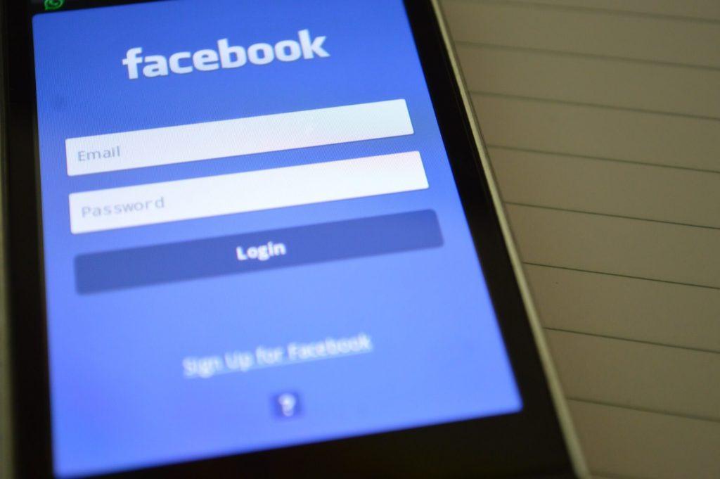 Facebook login page on smartphone