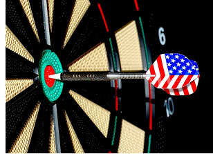 dart board with dart in center